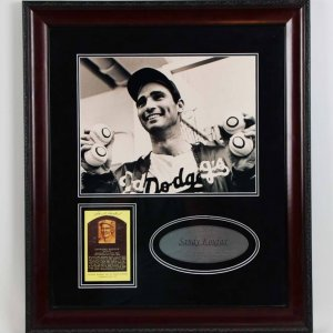 Sandy Koufax Signed HOF Card 22x25.5 Brooklyn Dodgers Photo Display - JSA
