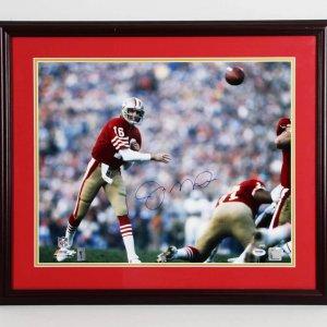Joe Montana Signed 49ers Photo 22x26 Display
