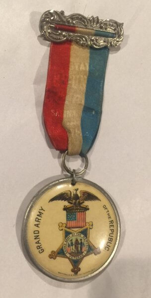 1890s State Reunion Fair Pin Celluloid Grand Army USA Ribbon Vintage Antique
