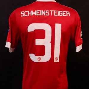 A Bastian Schweinsteiger Game-Used #31 Manchester United FC Home Shirt.  2015/16 UEFA Champions League.