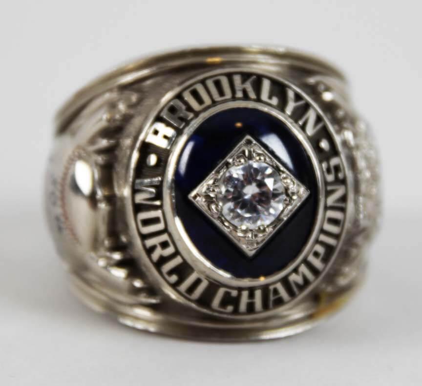 1955 Brooklyn Dodgers World Series Ring- 10K White Gold Prototype Ring & Baseball Bat