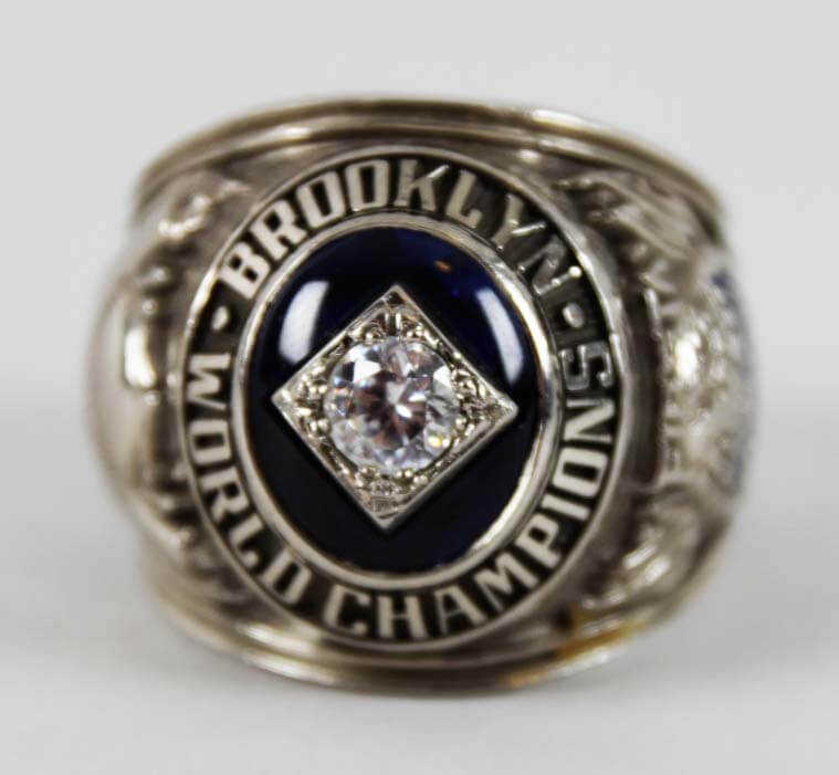 1955 Brooklyn Dodgers World Series Ring- 10K White Gold Prototype Ring & Baseball Bat