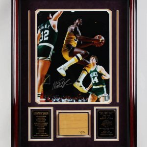 Magic Johnson Game-Used Lakers Forum Floor Board LE 32/32, Signed 16x20 Photo in Display - PSA/DNA
