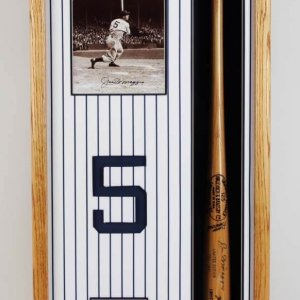 "Joe DiMaggio Signed ""1941"" Limited Edition Baseball Bat & Photo feat. Yankee Pinstripe Fabric Display"