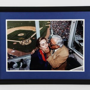 Harry Caray Signed & Inscribed Kissing Hillary Clinton Cubs Photo 19.5 x 26 Display - JSA