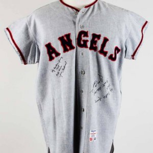 1965 Jose Cardenal Game-Worn Signed & Inscribed California Angels Flannel Jersey COA 100% Team