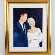 Marilyn Monroe & Joe DiMaggio Signed Oil Portrait Artwork Painting 17x23 Display by Amore