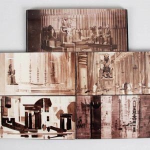Original 1963 Cleopatra Sketch / Drawing Block-Style Photos Made For a Presentation Board / Display from Production Designer John DeCuir (DeCuir Collection)