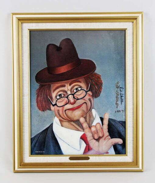 "Red Skelton Signed ""I Love You"" 14x18 Canvas Art Display"