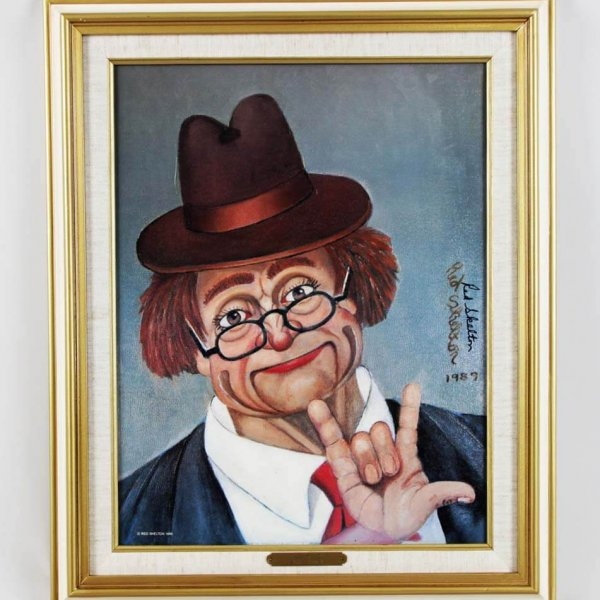 """Red Skelton Signed """"I Love You"""" 14x18 Canvas Art Display"""