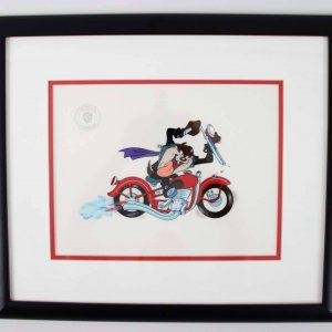 1993 Tazmanian Devil Motorcycle Animation Sericel 18.25 × 21.25 Display – LE 2069/2500 COA