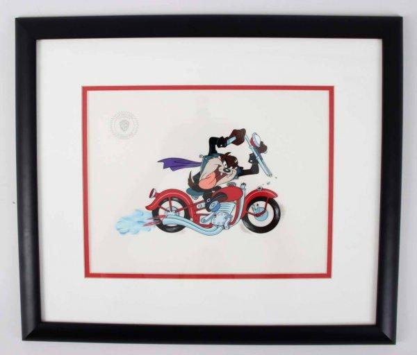 1993 Tazmanian Devil Motorcycle Animation Sericel 18.25 × 21.25 Display – LE 2069/2500 COA