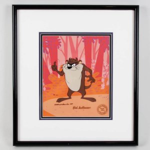 1989 Bob McKimson Signed Tasmanian Devil LE 391/500 17x19 Animation Display – COA
