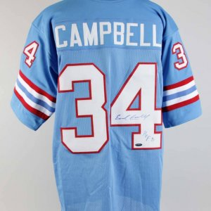 Earl Campbell Signed & Inscribed Houston Oilers Jersey - COA TriStar