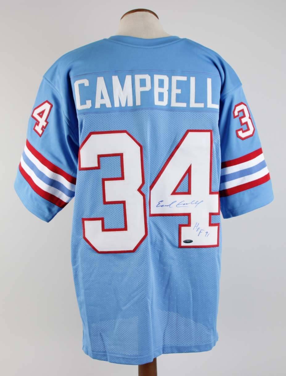 hot sales d0ca0 1ba00 Earl Campbell Signed Jersey Oilers - COA TriStar