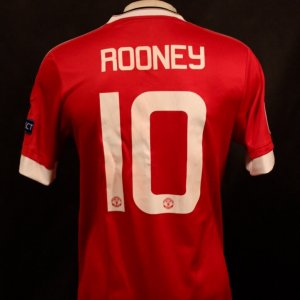 A Wayne Rooney Game-Used #10 Manchester United Home Shirt.  2015/16 UEFA Champions League.