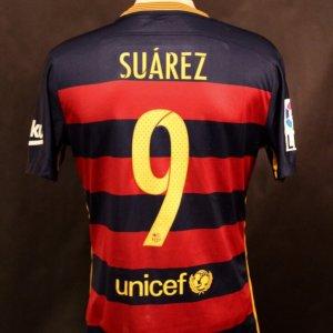 A Luis Suarez Game-Used #9 FC Barcelona Home Shirt.  Barcelona v. Real Madrid 11/21/2015 (4-0).