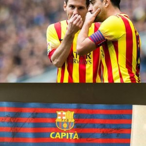 A Xavi Game-Used FC Barcelona Captain Armband & Signed by Messi, Xavi, and Iniesta