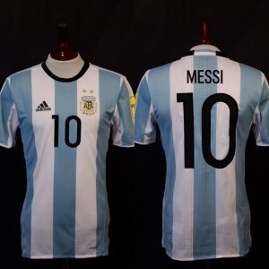 A Lionel Messi Game-Used #10 Argentina National Team Home Shirt.  2018 FIFA World Cup Qualifiers CONMEBOL.