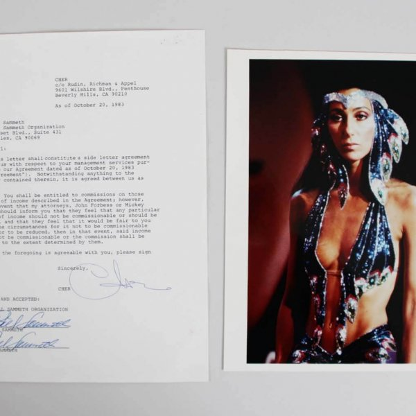 Cher Signed Management Contract - JSA
