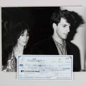 Cher Signed Personal Check to Boyfriend Robert Camilletti w/ Photo - JSA