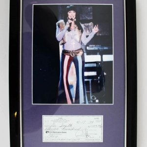 Cher Signed Personal Check 12x18 Photo Display - JSA