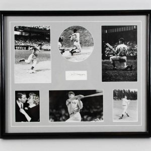 Joe DiMaggio Signed Cut 16.5 x 20 New York Yankees Photo Display - JSA Full LOA