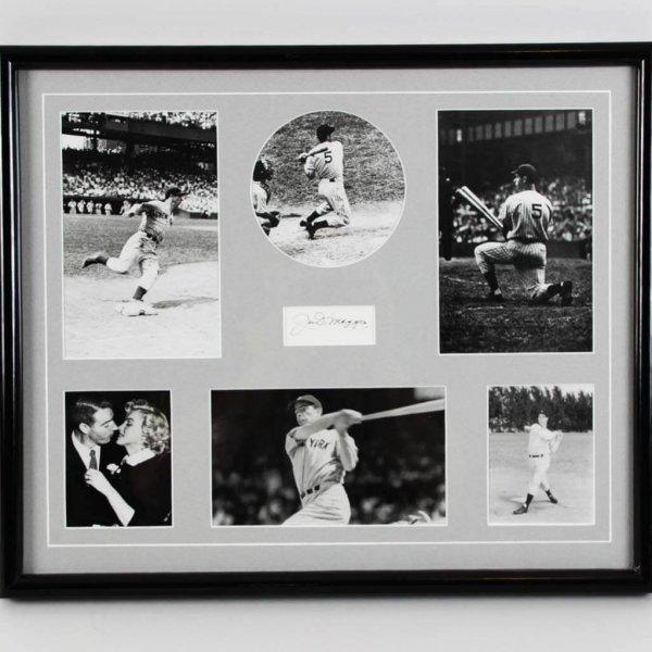 Joe DiMaggio Signed Cut 16.5 x 20 New York Yankees Photo Display - JSA Full LOA