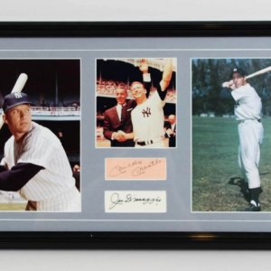 Mickey Mantle & Joe DiMaggio Signed Cuts 14 x 25.5 Photo Display - JSA Full LOA