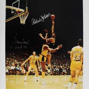 Lakers Kareem Abdul Jabbar & Jerry West Signed 16x20 Photo - PSA/DNA