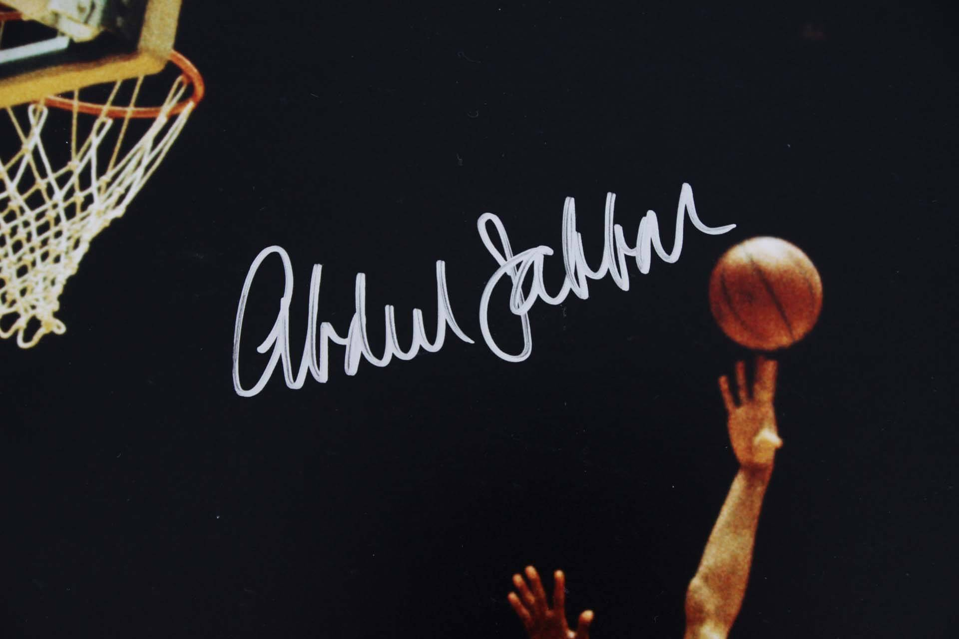 db81a4f6ab4 Lakers Kareem Abdul Jabbar   Jerry West Signed 16×20 Photo – PSA DNA ...
