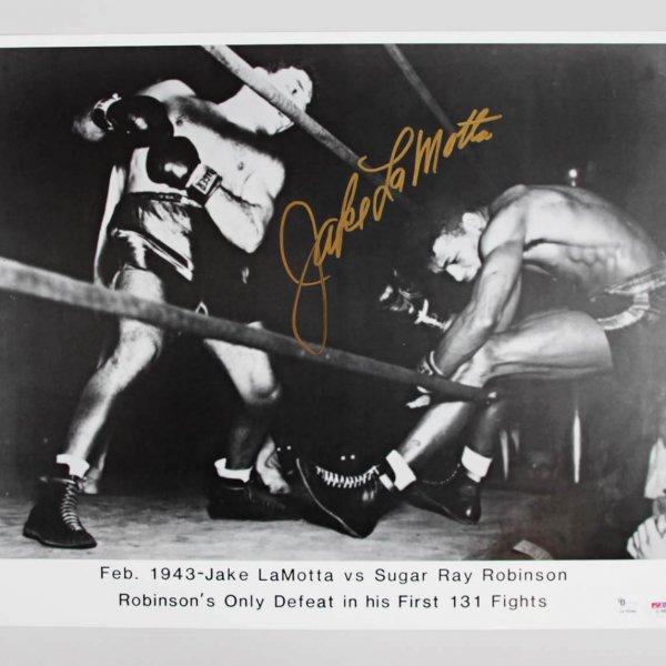 Jake LaMotta Signed 16x20 Photo - PSA/DNA