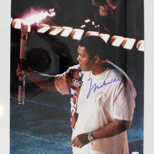 """Muhammad Ali Signed 16 x 20"""" Carrying The Olympics Torch Photo"""