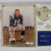 Colts Johnny Unitas Signed 14 x 16 Photo Plaque Display - COA JSA