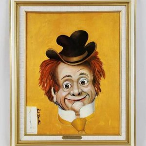 "Red Skelton Signed ""Clem Kiddlehopper"" 14x18 Canvas Art"