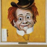 """Red Skelton Signed """"Clem Kiddlehopper"""" 14x18 Canvas Art"""