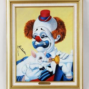 "Red Skelton Signed ""Dinner Time"" 14x18 Canvas Art"