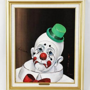 "Red Skelton Signed ""Sad Face Clown"" 14x18 Canvas Art"