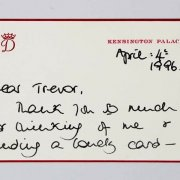 April 4, 1996 Princess Diana Signed Letter Handwritten to Trevor Jones (Bodyguard) - JSA Full LOA