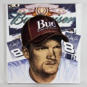 Steve Kaufman Signed 39x42 Canvas Art of Dale Earnhardt, Jr. NASCAR Race Driver