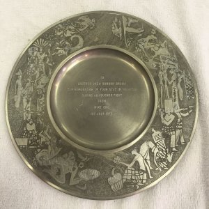 Commemorative Pewter Plate Given to Drew Bundini Brown for work during Ali/Bugnar Fight