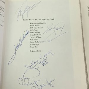 Michael Jordan, Havlicek, Cousy, Pippen and 50 other NBA Players Signed Book JSA