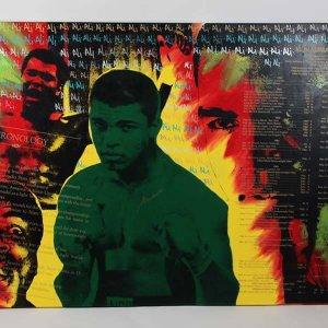 Muhammad Ali Signed 54x85 Steve Kaufman Art - JSA
