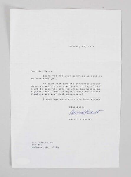 1979 Patrica Hearst Signed Typed Letter Written From Prison - COA JSA