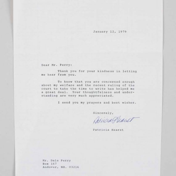 1979 Patricia Hearst Signed Typed Letter Written From Prison - COA JSA