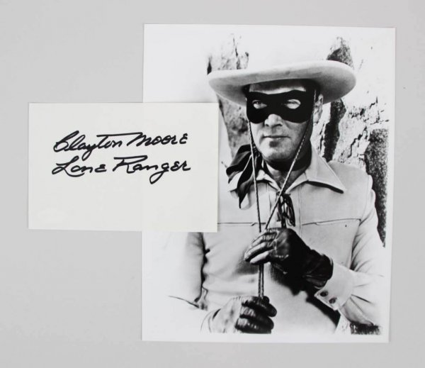 CLAYTON MOORE SIGNED 6X4 INDEX CARD THE LONE RANGER AUTOGRAPH - COA JSA