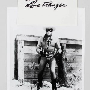 CLAYTON MOORE SIGNED 6X4 INDEX CARD THE LONE RANGER AUTOGRAPH JSA COA