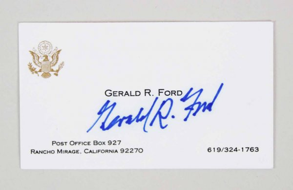 Gerald R. Ford  President Signed  Personal Presidential Card - COA JSA