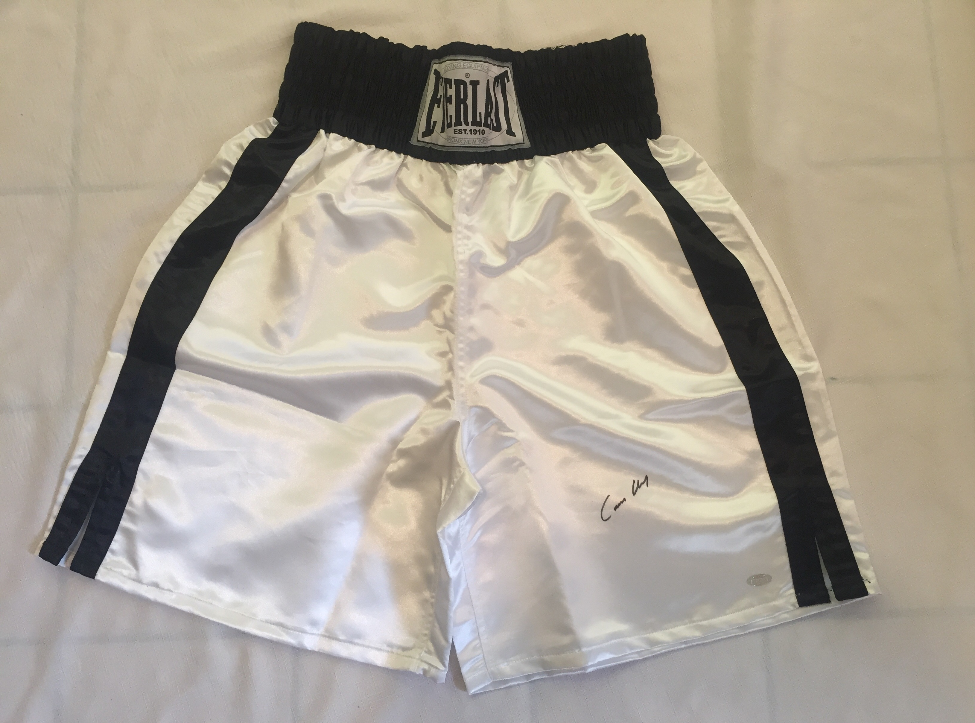 Cassius Clay Signed Everlast White Boxing Trunks Steiner