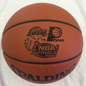 Lakers vs  Pacers 2000 Game-Used David J. Stern Spalding Basketball